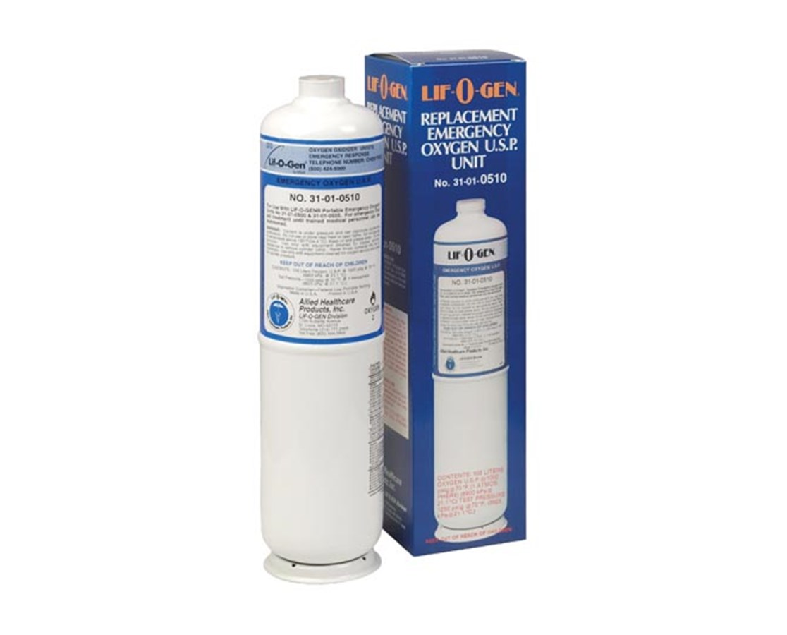 Replacement Oxygen Cylinder for Lif-O-Gen Disposable Oxygen Kits ALL31-01-0510