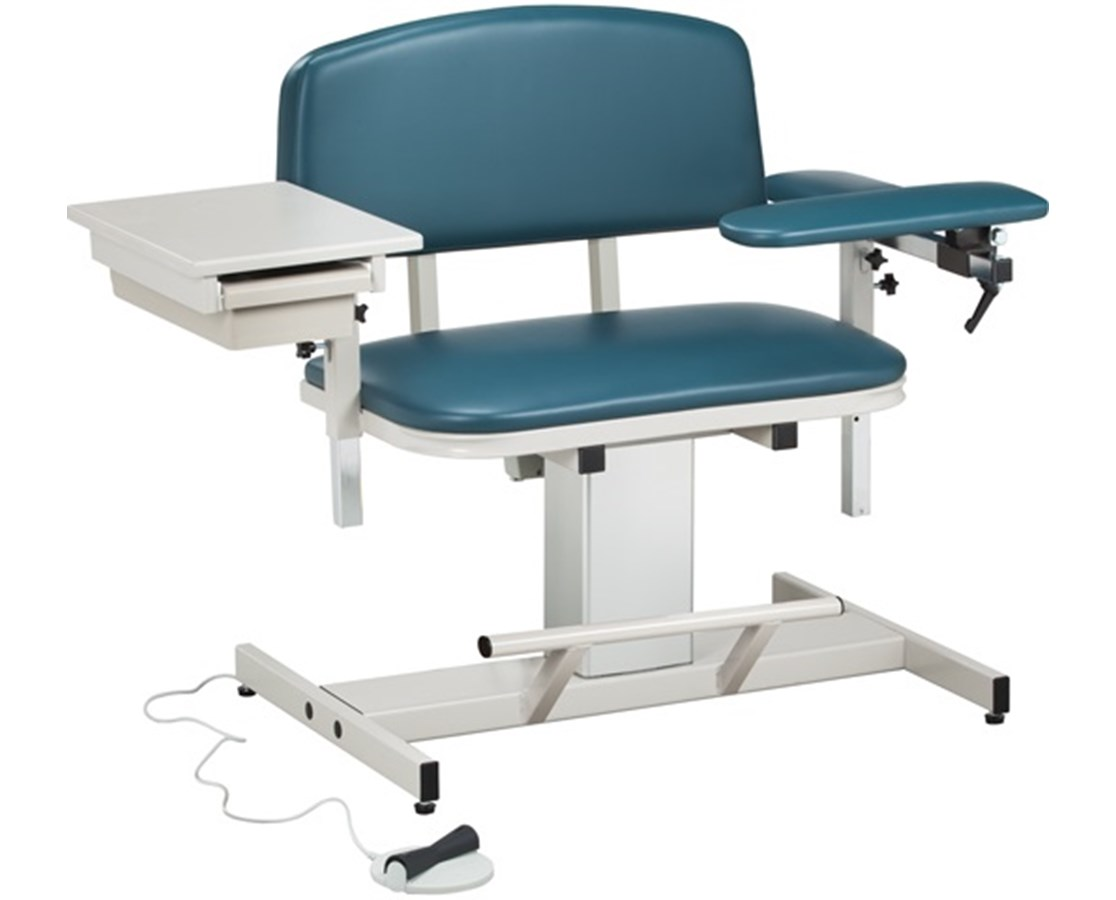 Power Series Extra-Wide, Blood Drawing Chair with Padded Flip Arm and Drawer CLI6352