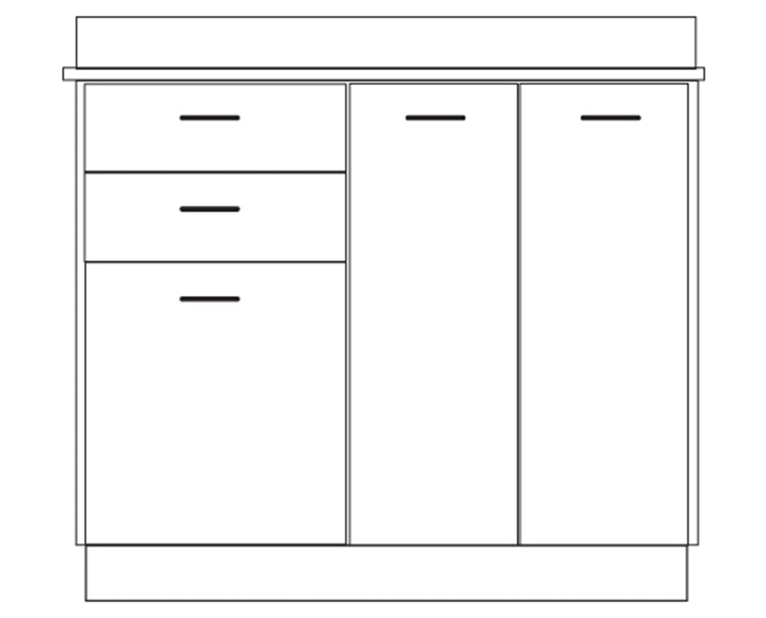 Clintonclean™ Base Cabinet with 3 Doors & 2 Drawers CLI8036-P