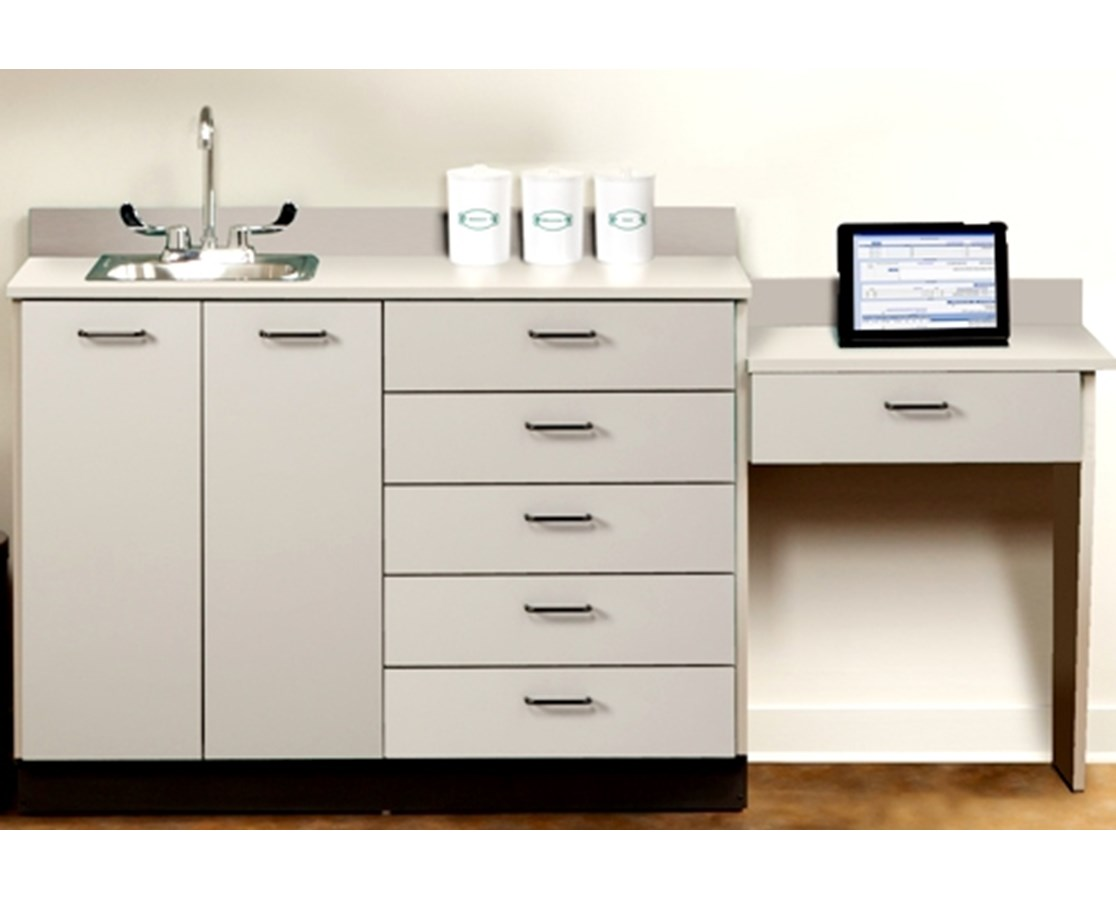 Base Cabinet with 2 Doors, 6 Drawers, Desk & Sink CLI8048-99-P-