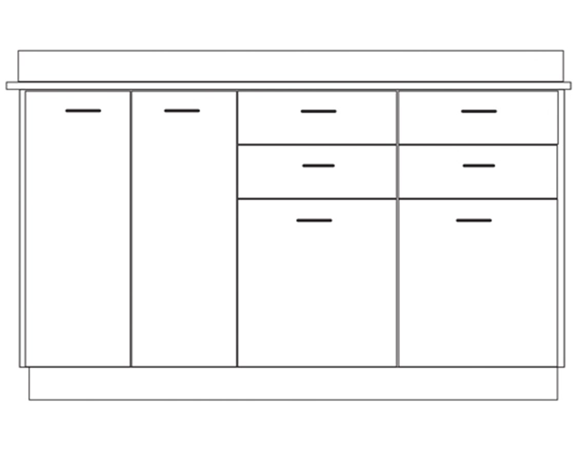 Clintonclean™ Base Cabinet with 4 Doors & 4 Drawers CLI8060-P