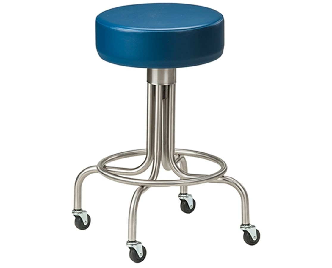 Stainless Steel Stool with Casters & Upholstered Top CLISS-2142