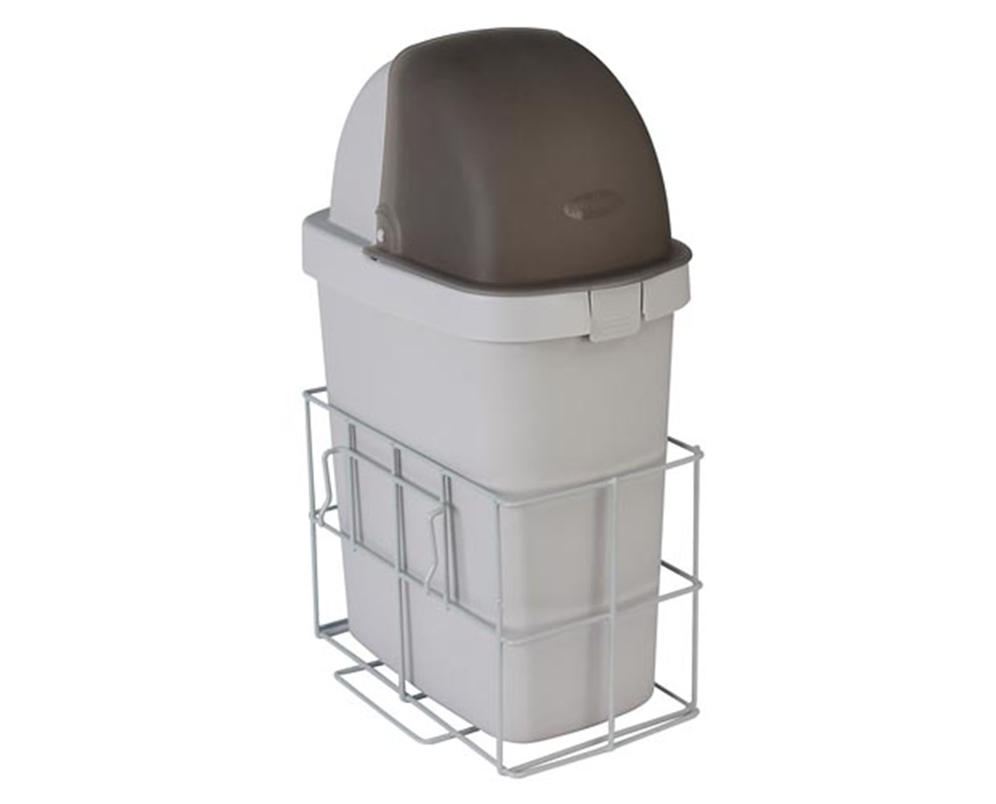 Waste Bin w/ Accessory Rail for Whisper Medical Carts DETCAWCWB