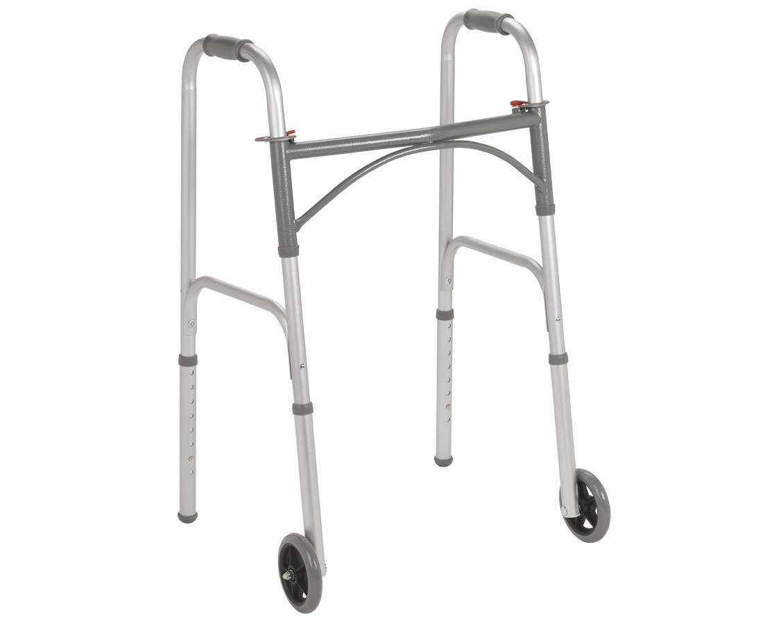 "Two Button Folding Walker with 5"" Wheels DRI10244-1"