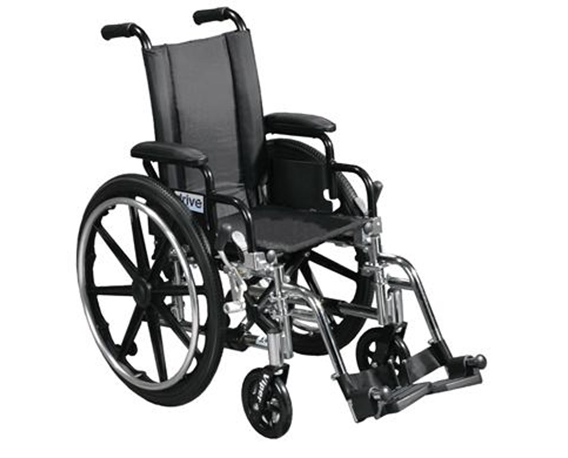 Viper Wheelchair with Various Flip Back Desk Arm Styles and Front Rigging Options DRIL412DDA-SF