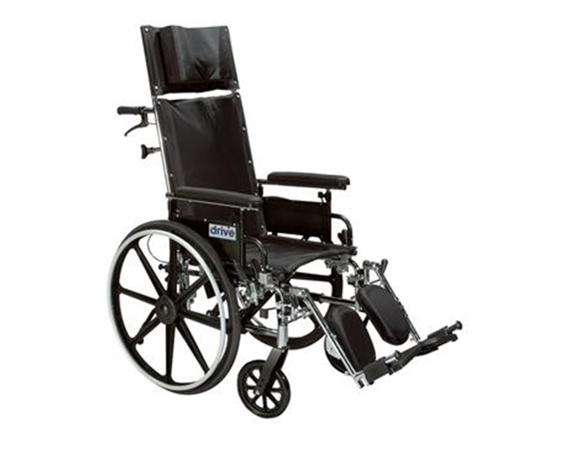Viper Plus Light Weight Reclining Wheelchair with Elevating Leg rest and Various Flip Back Arm Styles DRIPL412RBDDA