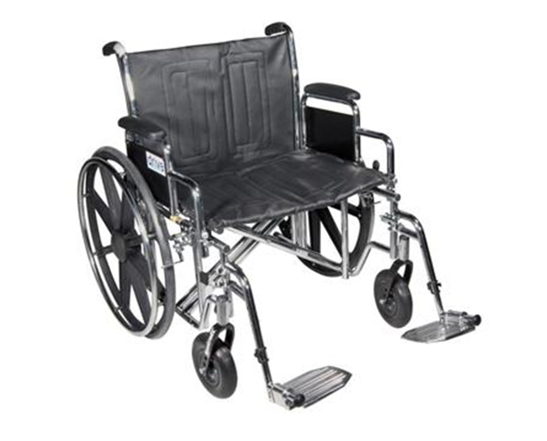 Sentra EC Heavy Duty Wheelchair with Various Arm Styles and Front Rigging Options DRISTD20ECDDAHD-SF