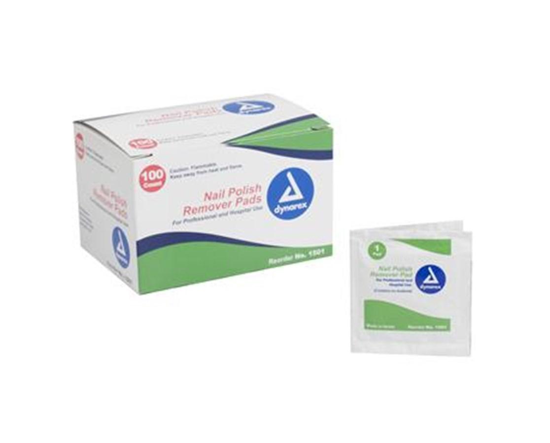 Dynarex Nail Polish Remove Pads, 100 per box, 10 boxes DYN1501