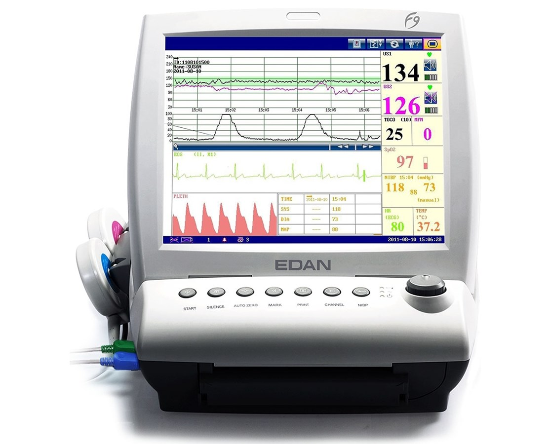 Touch Screen Maternal Fetal Monitor with ECG, NIBP, SpO2 and Thermometry EDAF9Express