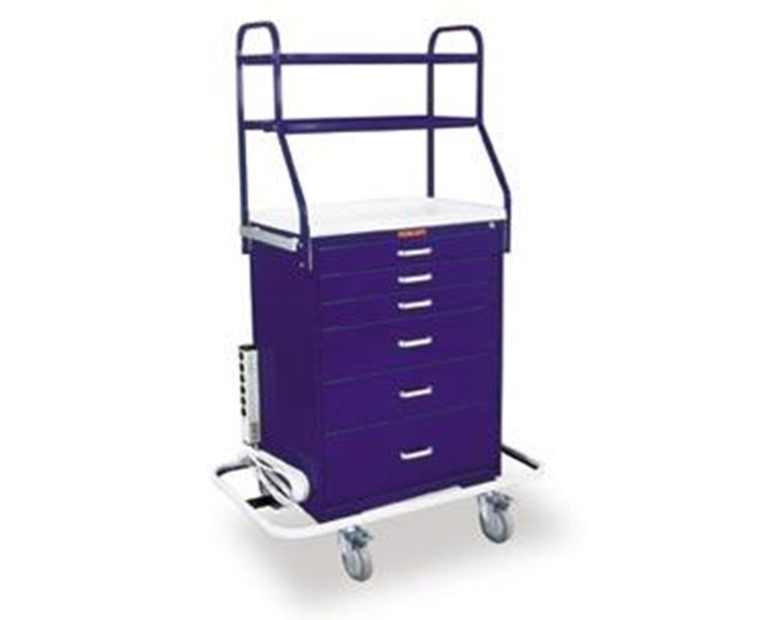 Classic Tall Six Drawer Anesthesia Cart with Overhead Shelving and Key Lock HAR6650-