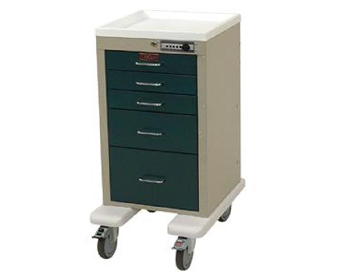 Mini Line Aluminum Five Drawer Anesthesia Cart with Combination Lock HARAL3245M-