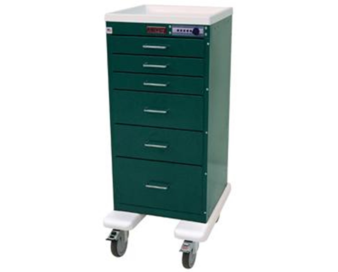 Mini Line Aluminum Six Drawer Anesthesia Cart with Combination Lock HARAL3256M-