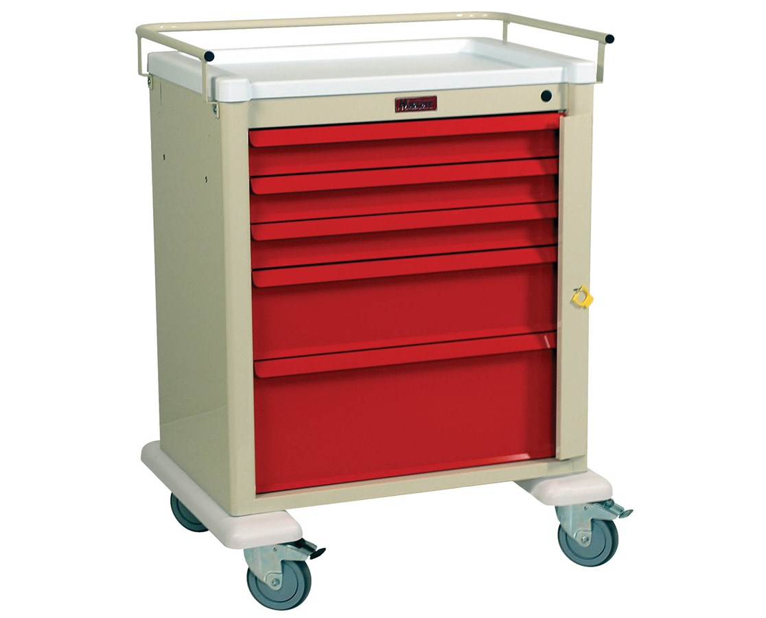 Universal Aluminum Medium Five Drawer Crash Cart HARAL808B5-