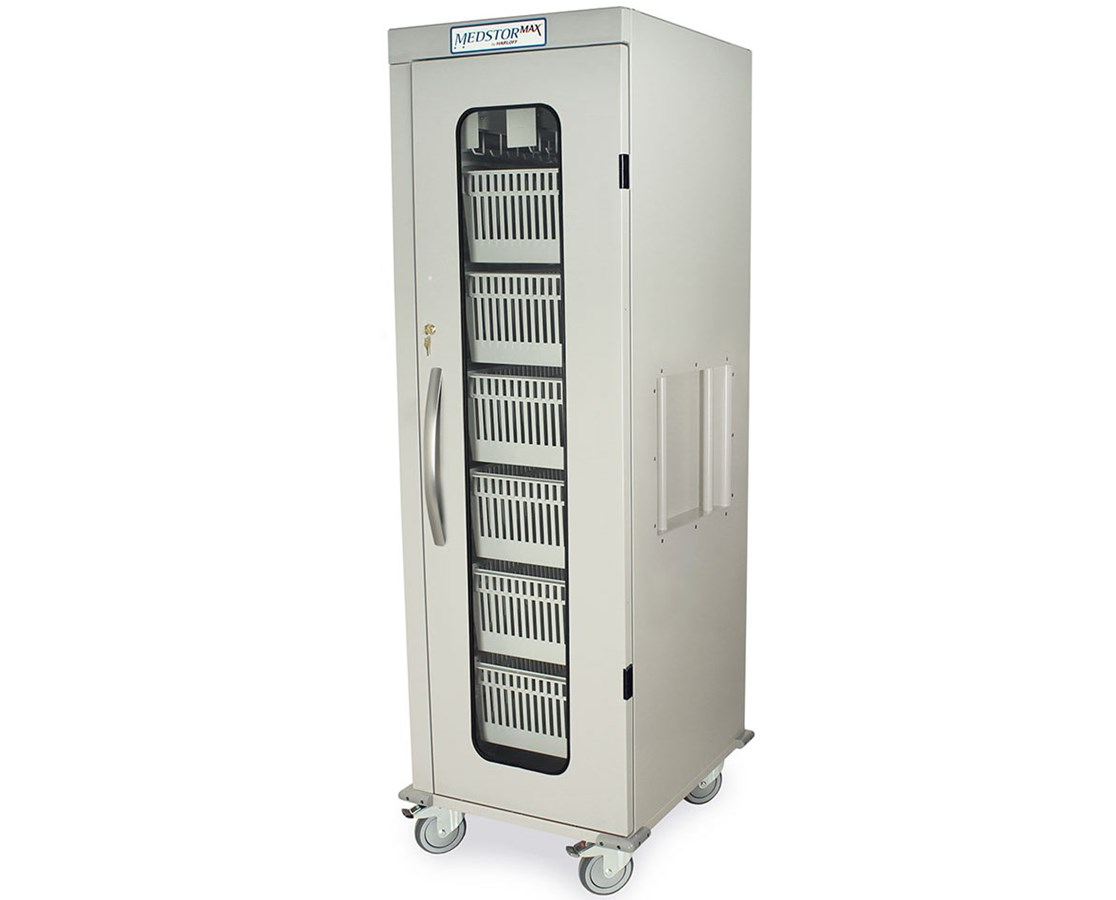 Single Column Medical Storage Cart with Clear Panel Double Door HARMS8128DR-