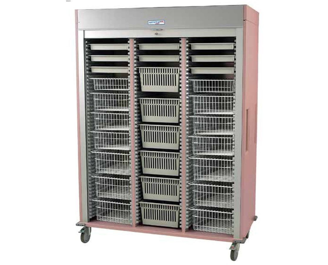 Preconfigured Triple Column Orthopedic Medical Storage Cart with Tambour Door HARMS8160-ORTHO-