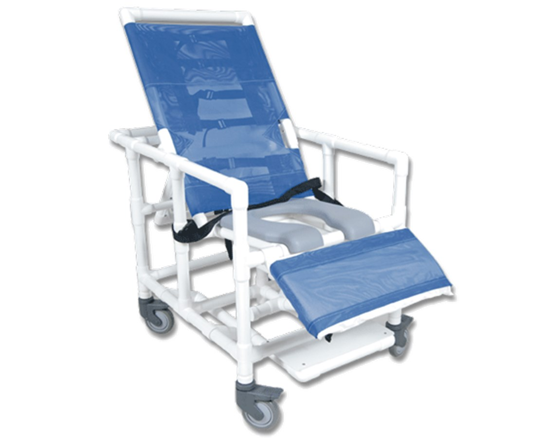 PVC Reclining Shower Chair With Soft Seat 400 Lb. Capacity HMPCS400W5-SS-400