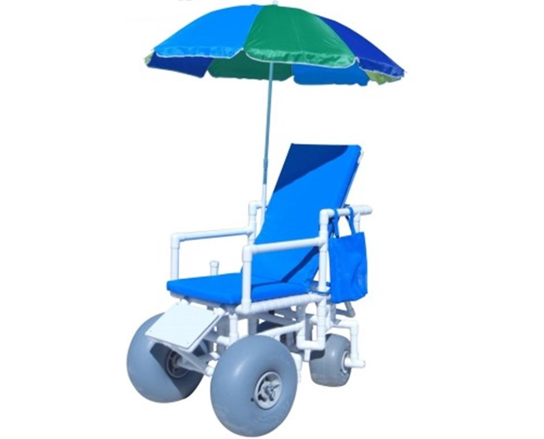 WHEELEEZ: PVC Reclining Beach Wheelchair – Swivel Back wheels HMPROLLEEZ-RECLINE