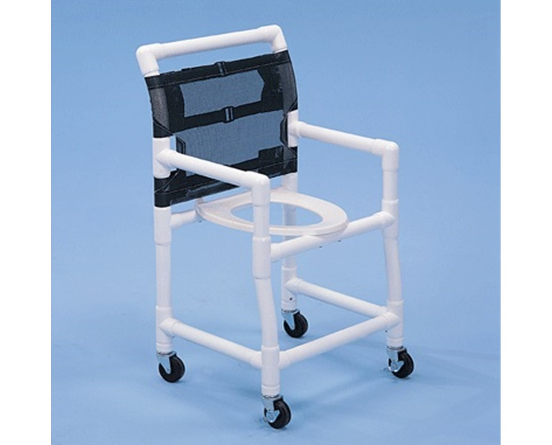 "PVC Shower Chair with Deluxe Elongated Commode Seat - 18"" Width HMPSC6013D-"