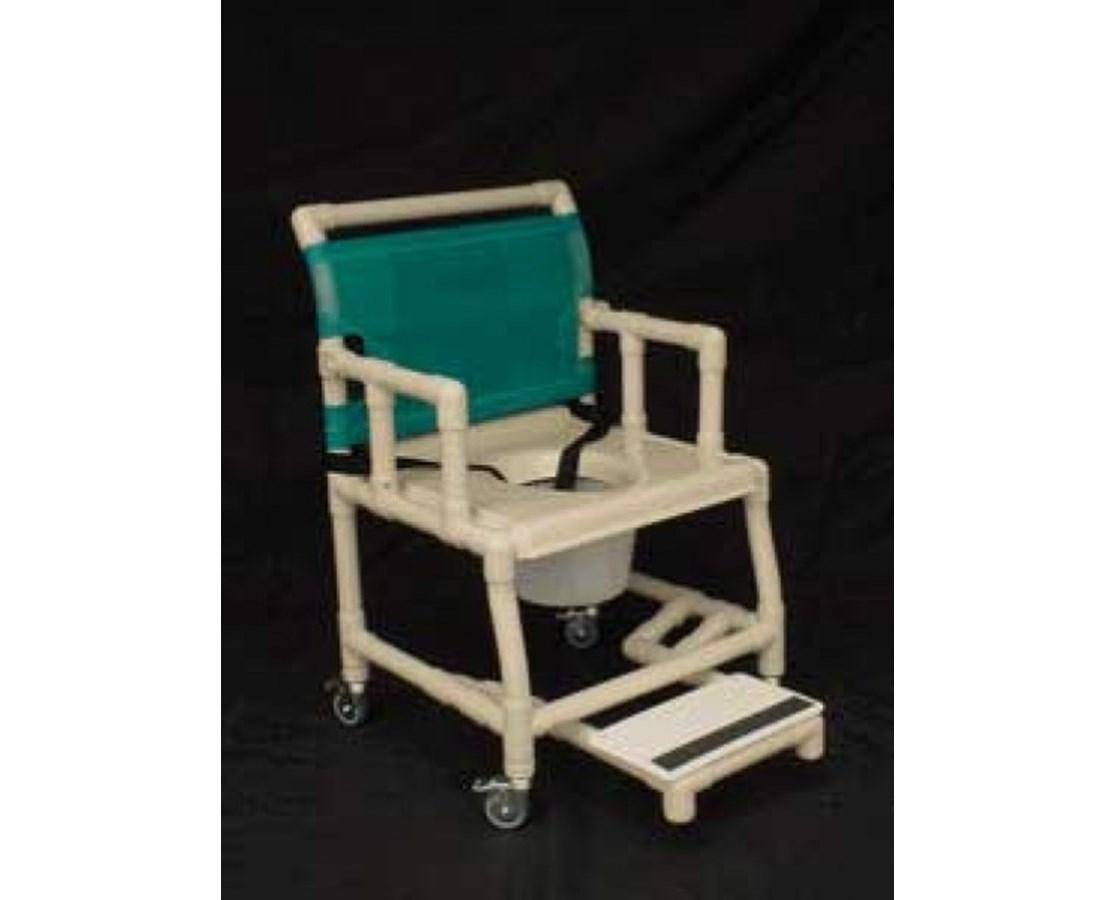 """PVC Shower Chair with Vaccum Formed Seat, Drop Arm, Sliding Footrest and 7 Qt Pail - 18"""" Width HMPSC6013DVAC-SFDA-C7-"""