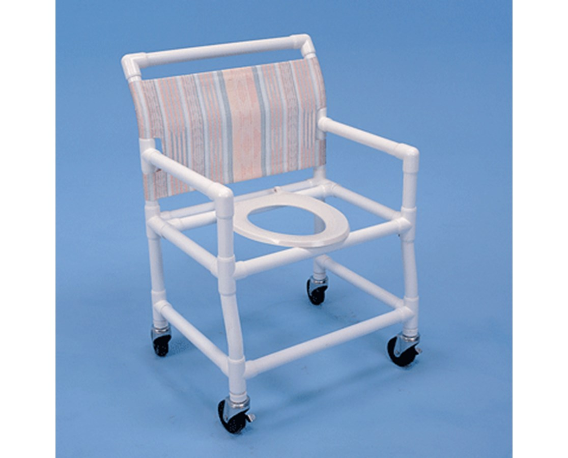 "24"" Wide PVC Shower Chair with Deluxe Elongated Commode Seat - 24"" Width HMPSC6014X"