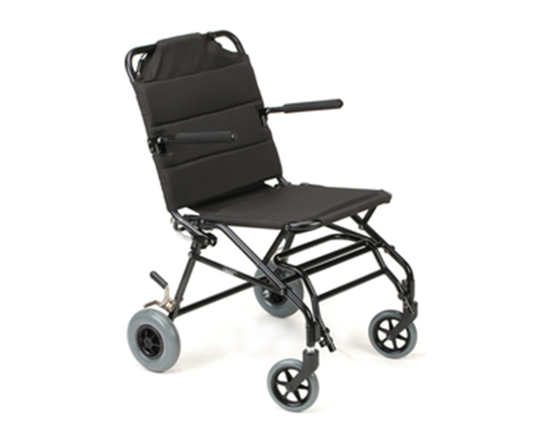 "Ultra Lightweight Travel Wheelchair 16"" Seat with Flip-up Footplate - Black KARKMTV10B16B"