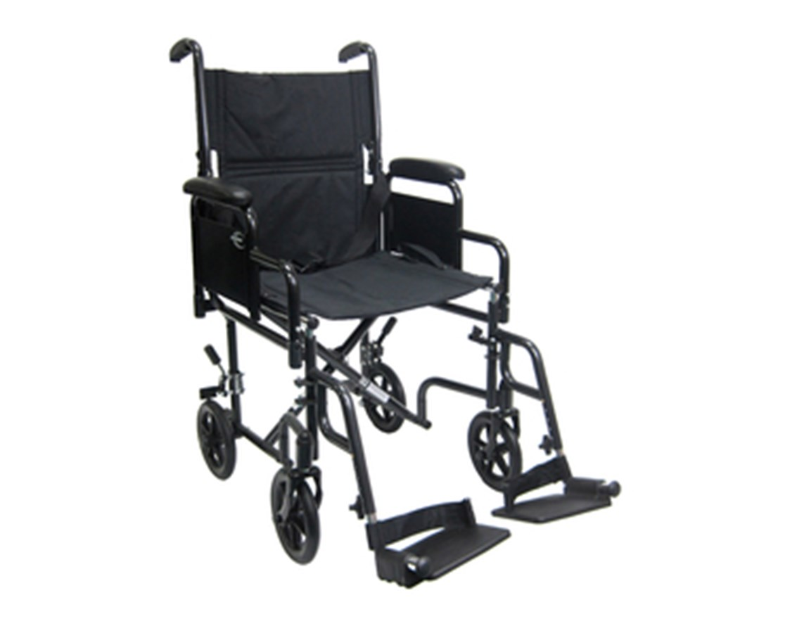 "Transport Wheelchair 17"" Seat with Removable Armrest and Footrest KART-2700N"