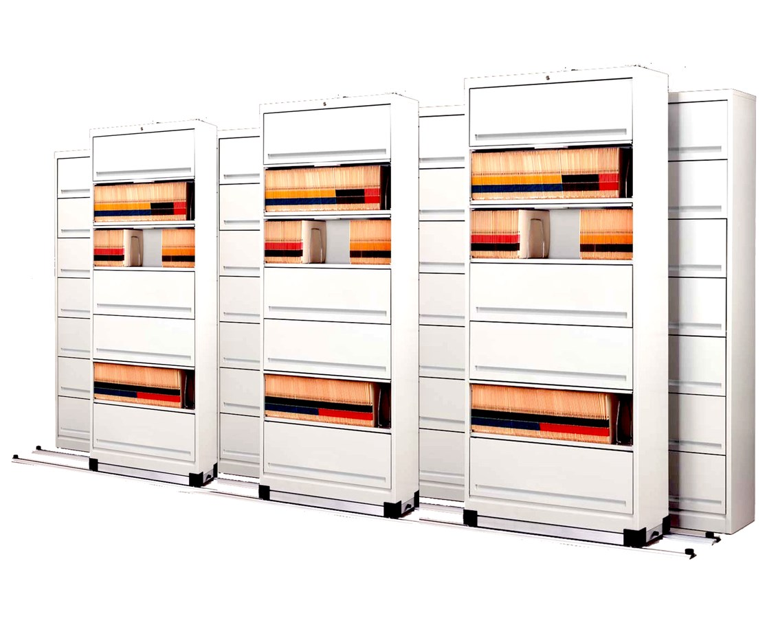 Flip-n-File™ Cabinets on Kwik-Track - Bi-Slider, 7 Units - 4/3 MAYFF543-