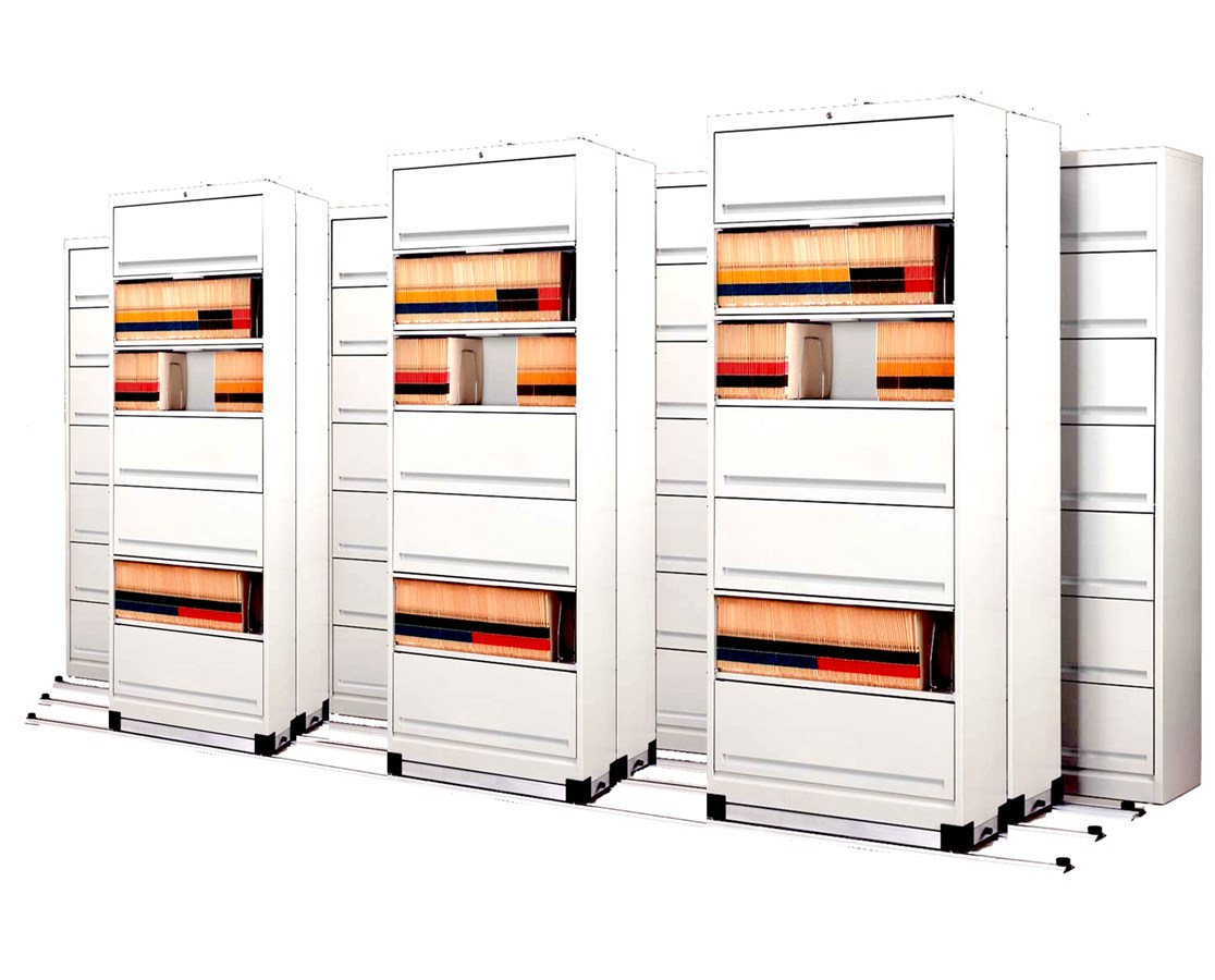 Flip-n-File™ Cabinets on Kwik-Track - Tri-Slider, 10 Units - 4/3/3 MAYFF5433-