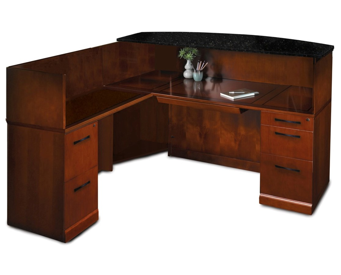 Sorrento™ Series L Shaped Reception Station with Pedestals MAYSRCSL-
