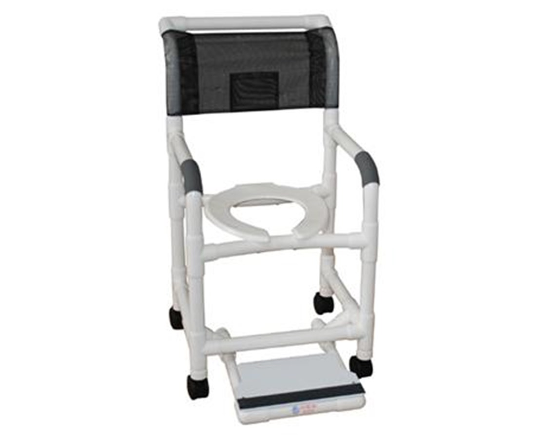 MJM118-3-DDA-SF-SSDE Commode Shower Chair with Double Drop Arms and Sliding Footrest