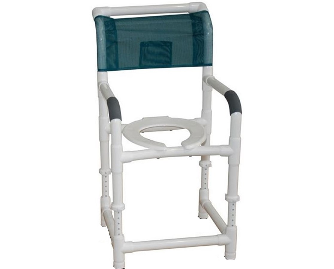 MJM 118-LP-ADJ-SQ-PAIL Adjustable Stationary Commode Shower Chair with Commode Pail