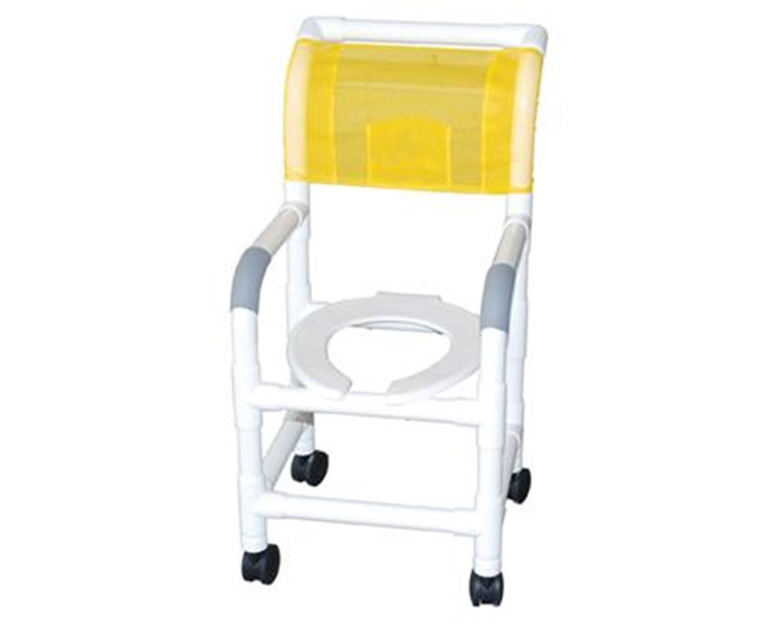 "MJM122-3TL-DDA 22"" Wide Shower Commode with Total Lock Casters and Double Drop Arms"