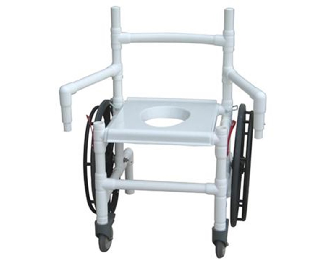 MJM 131-18-24W-F-DE-CON Folding Transfer Chair with Dual Swing Away Arms
