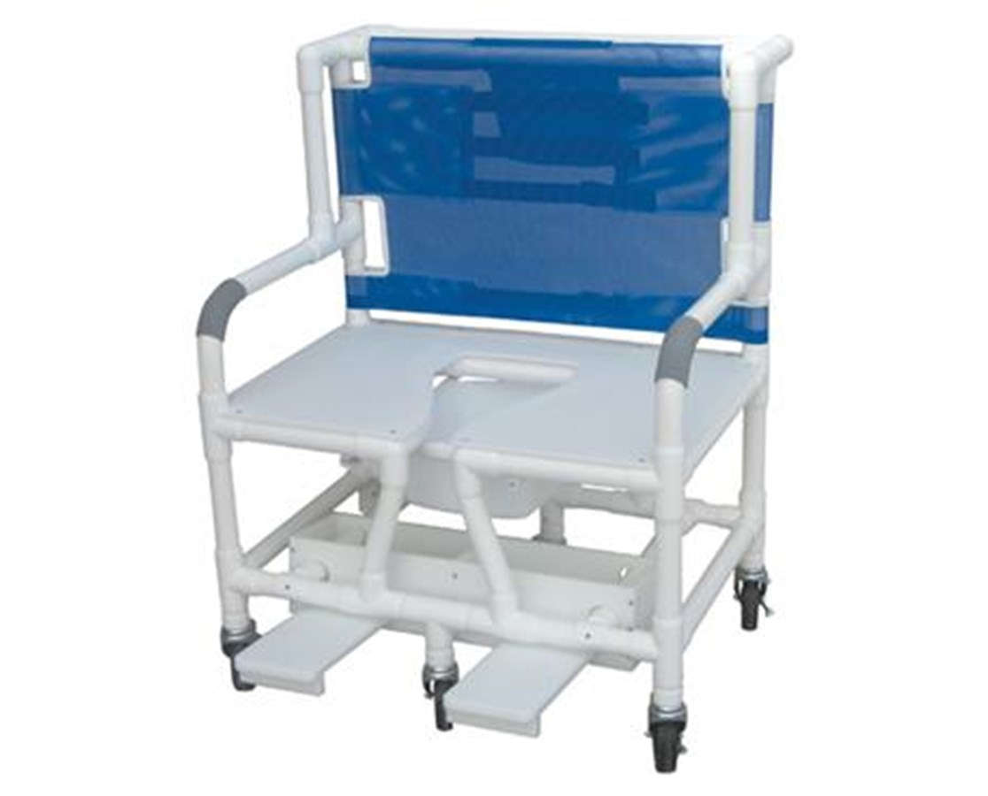 "MJM131-5 31"" Bariatric Commode Shower Chair with Slide out Foot Rest"