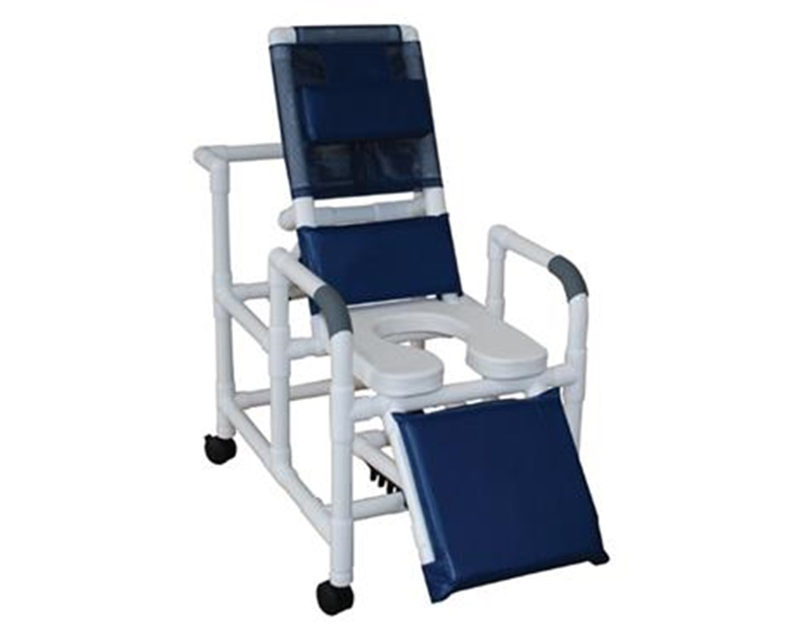 MJM 193-SSDE-SQ-PAIL Reclining Shower Commode with Elevated leg Extension and Open Soft Seat and Commode Pail