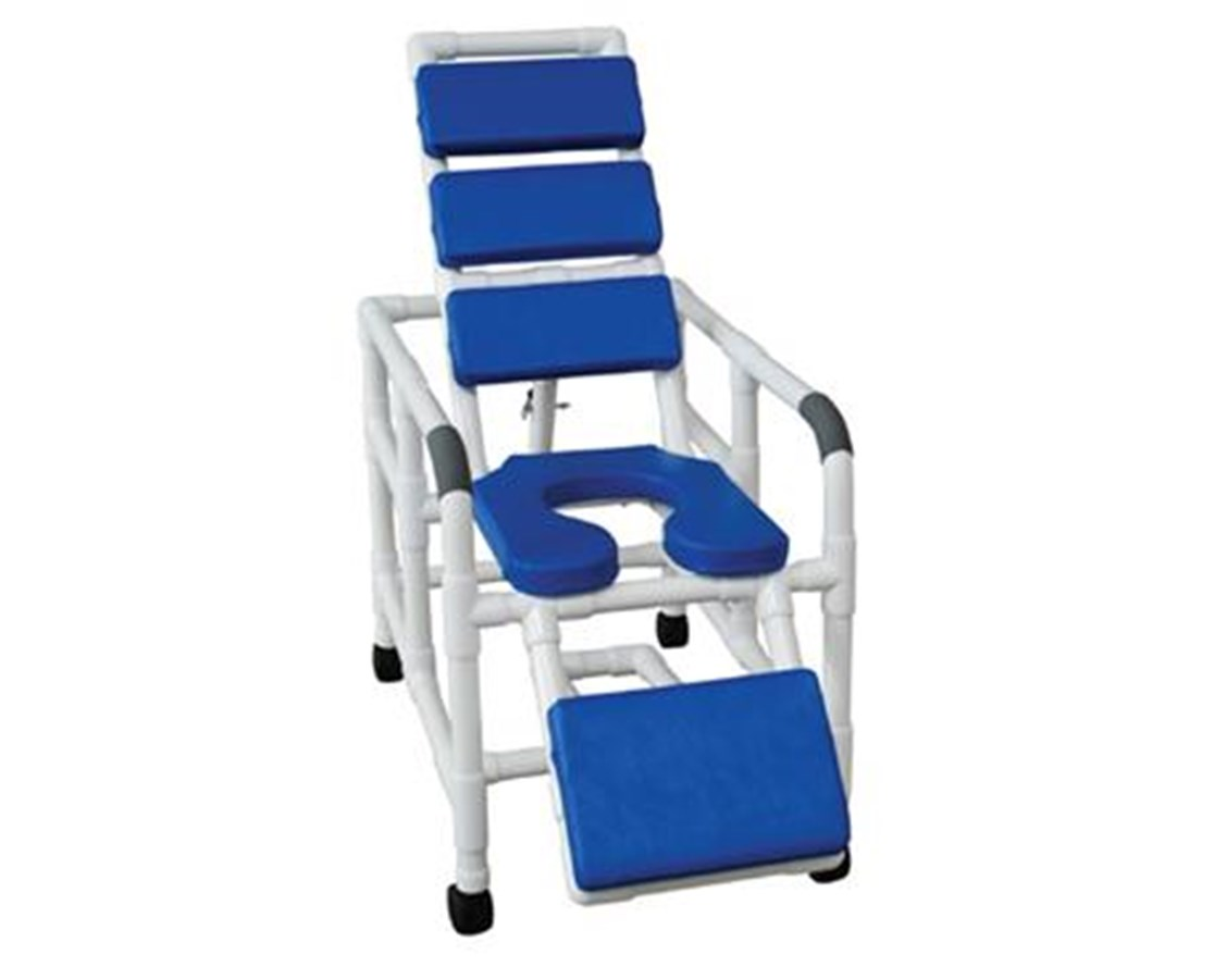 MJM 193-SSDE-TP-BL RReclining Shower Chair with Soft Padded Blue Seat, Back, and Leg Extensions