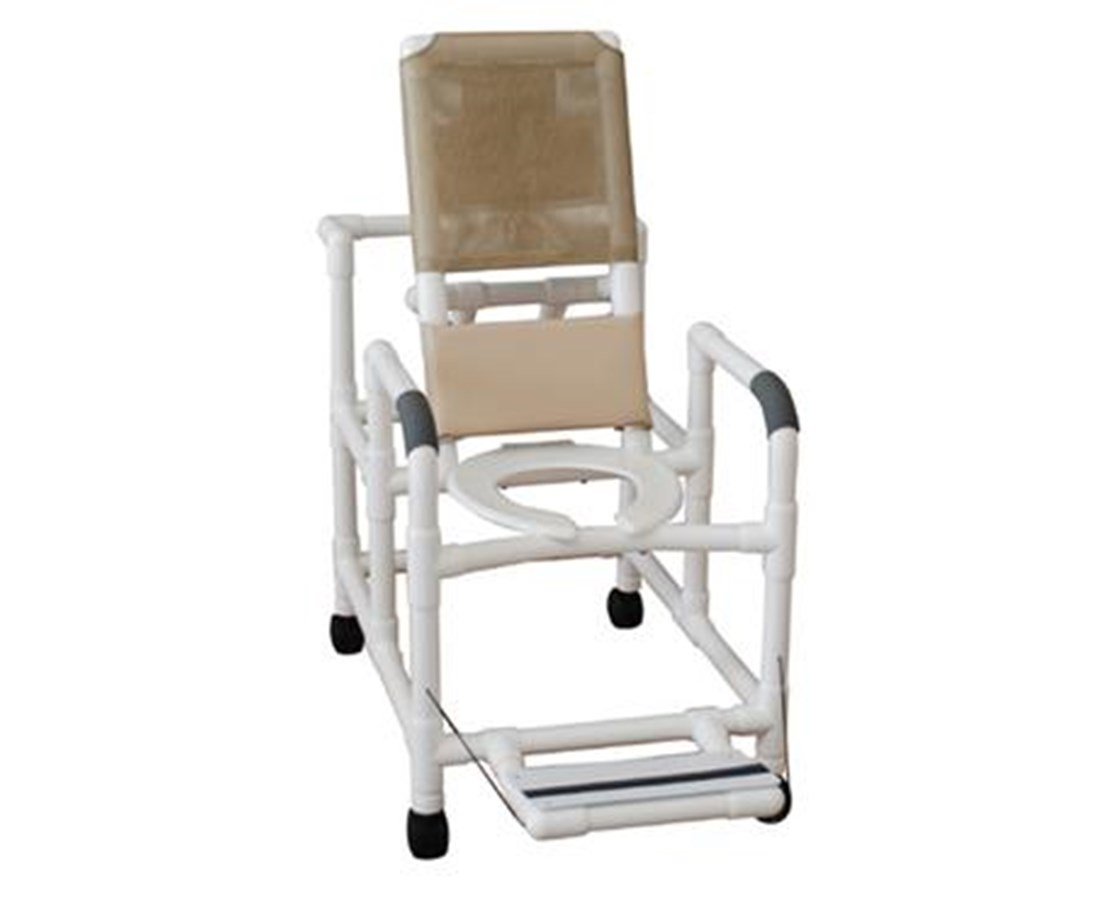 MJM 195-SQ-PAIL Reclining Shower Chair with Commode Pail and Folding Footrest