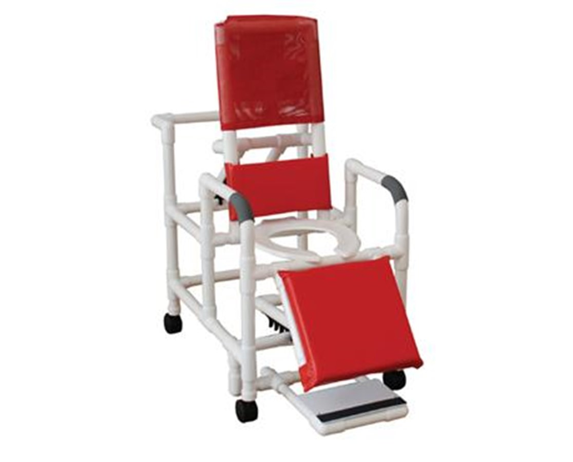 MJM 196-SSDE Reclining Shower Commode with Soft Seat, Footrest and Padded Leg Extensions