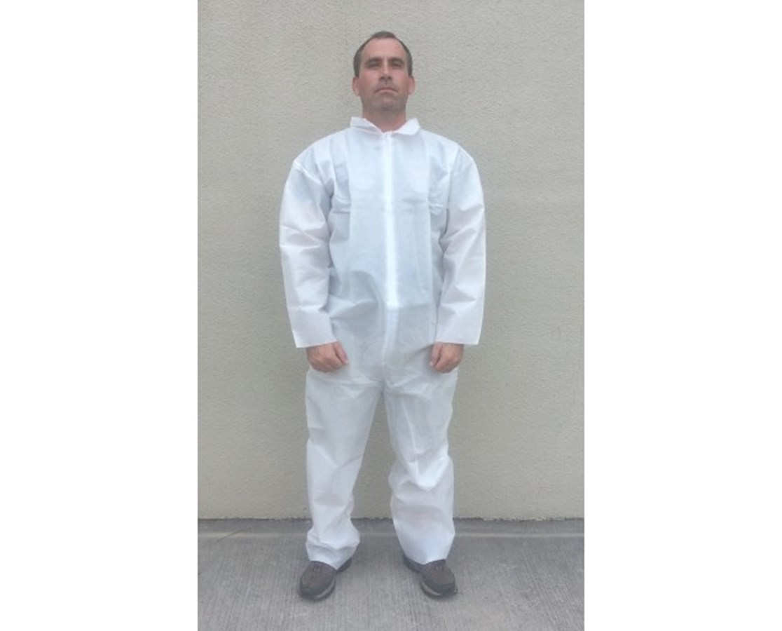 White SunSoft Coveralls with Front Zipper T12120