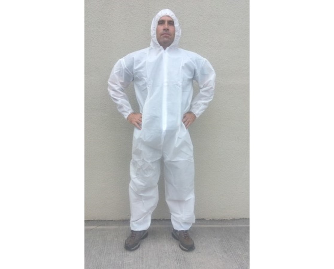 White SunSoft Coverall with Attached Hood and Front Zipper SNTT12127