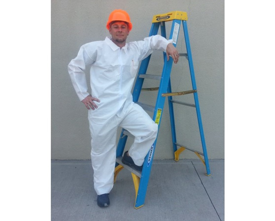 White Lightweight Polypropylene Coveralls with Zipper Front SNTT3101-55P