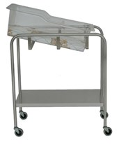 Stainless Steel Bassinet with shelf basket and mattress UMFSS8538