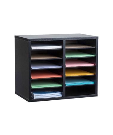Compartment  Wooden Literature Organizer ADI500-12-BLK