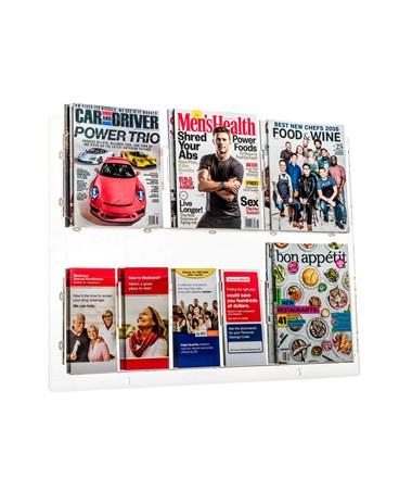 Hanging Magazine Rack with Adjustable Pockets ADI640-2935-CLR- with magazines