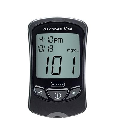 ARK761100- Glucocard® Vital™ Blood Glucose Black Meter Kit - On