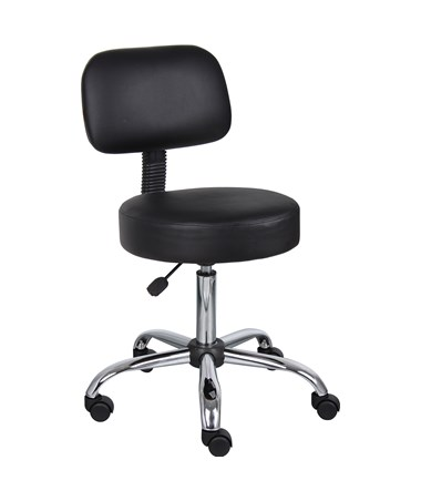 Medical Stool with Back Cushion Black