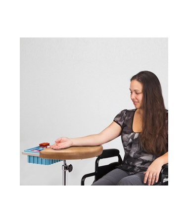CLI6940 Half Round, Stationary, Padded Phlebotomy Stand - In use