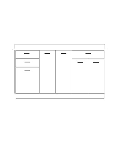 Clintonclean™ Base Cabinet with 5 Doors & 3 Drawers CLI8066-P