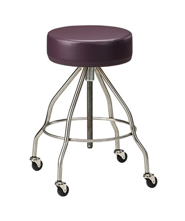 Stainless Steel Stool with Casters & Upholstered Top CLISS-2172