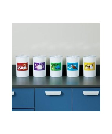 Labeled Opaque Plastic Sundry Jars CLIT-60